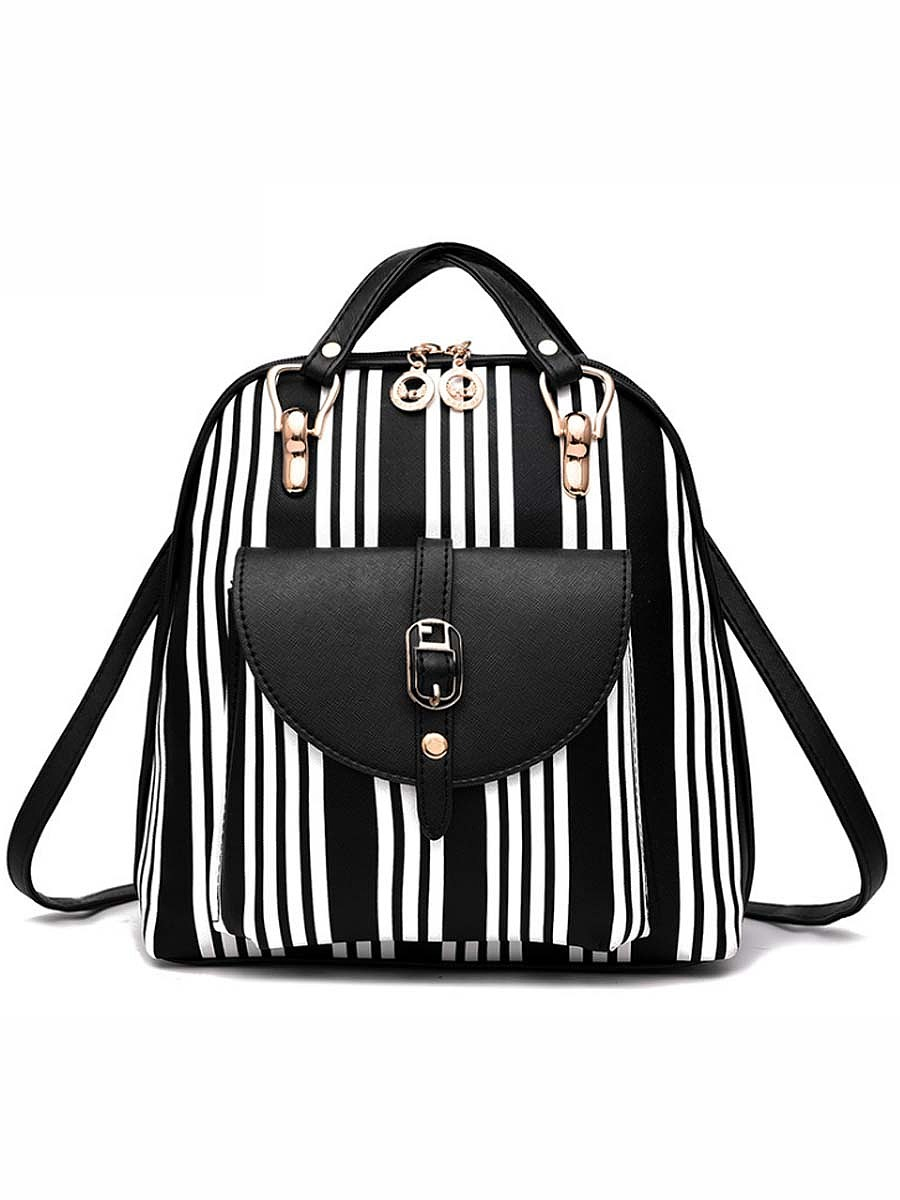 Vertical Striped Printed Backpack