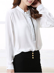 Autumn Spring  Polyester  Women  Round Neck  Plain  Long Sleeve Blouses