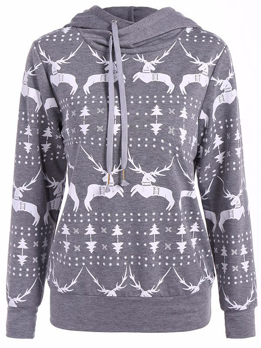 Christmas Printed Hooded Long Sleeve T-Shirt
