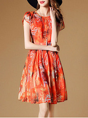Round Neck Printed Chiffon Skater Dress