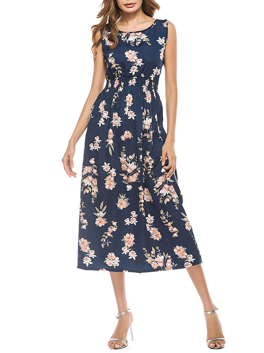 Sleeveless Floral Printed Elastic Waist Round Neck Maxi Dress