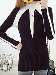 High Neck  Stripes Knit Pullover