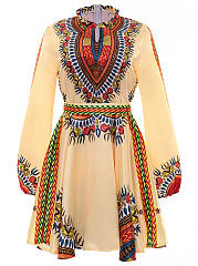 Band Collar Tribal Printed Plus Size Flared Dress
