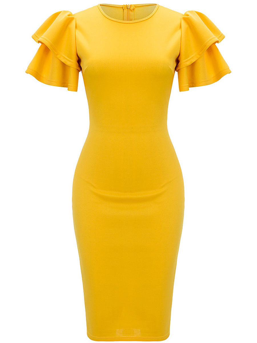 Solid Round Neck Tiered Ruffle Sleeve Midi Bodycon Dress