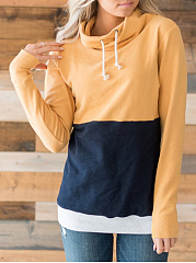 High Neck  Drawstring  Color Block  Long Sleeve Hoodies