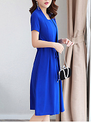 Boat Neck  Belt Fake Two-Piece  Plain Maxi Dress
