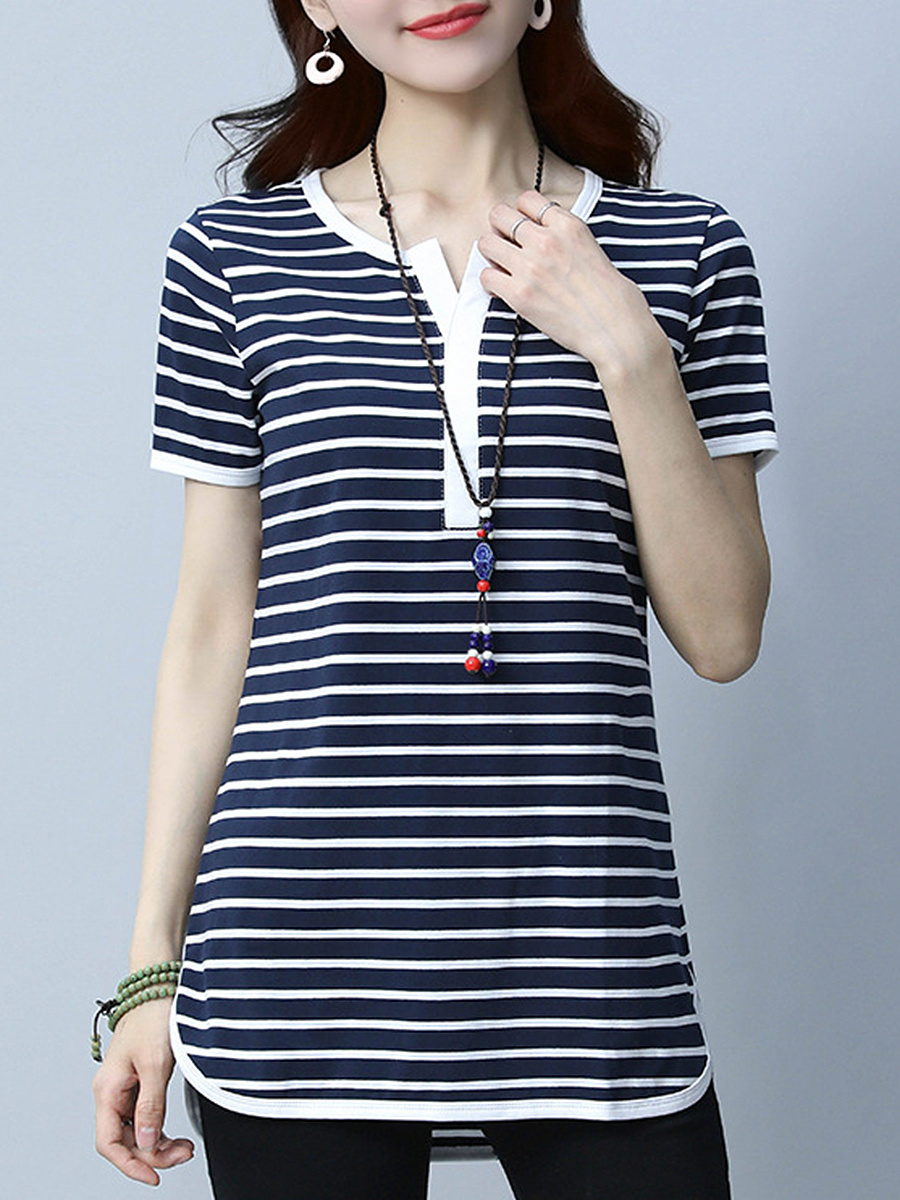 Striped Split Neck Short Sleeve T-Shirt