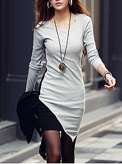 Sexy Color Block Asymmetric Hem Bodycon Dress