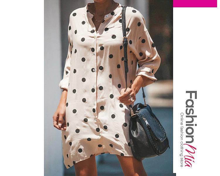 Stand Collar  Polka Dot Buttons Embellished Shift Dresses