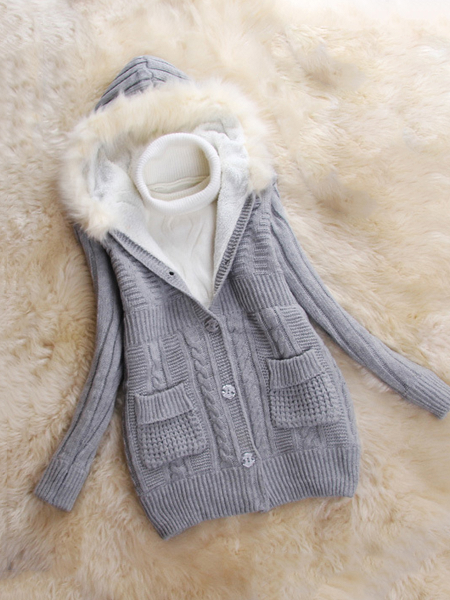frayed trim single breasted slit pocket plain casual autumn spring winter casual Hooded  Frayed Trim  Plain  Long Sleeve Coats