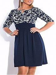 Printed Plus Size Flared Dresses