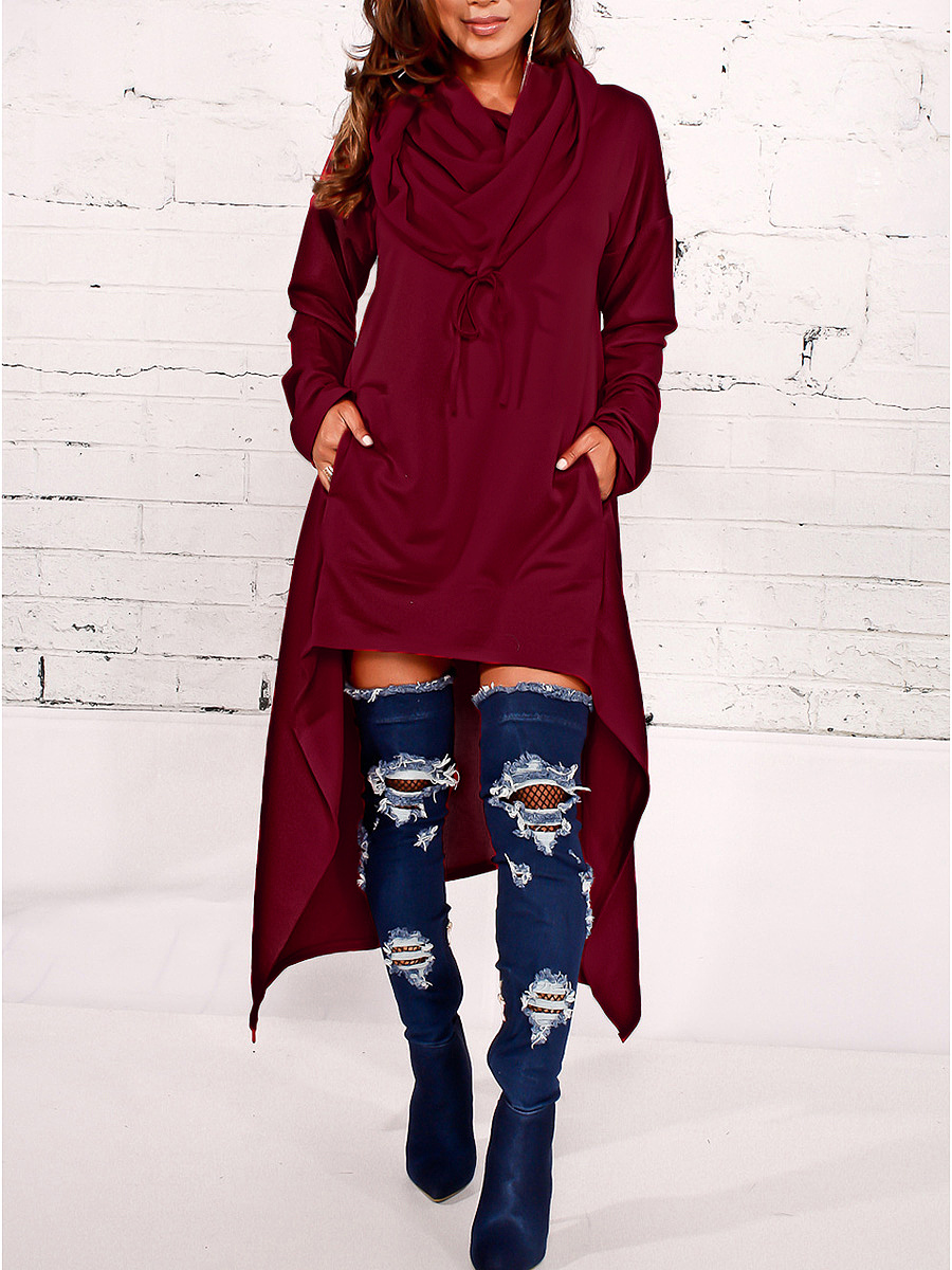 Hooded High-Low Kangaroo Pocket Plain Maxi Dress