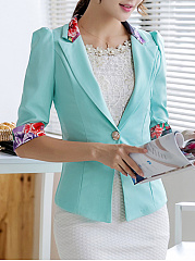 Notch Lapel  Patchwork  Single Button  Printed  Half Sleeve Blazers
