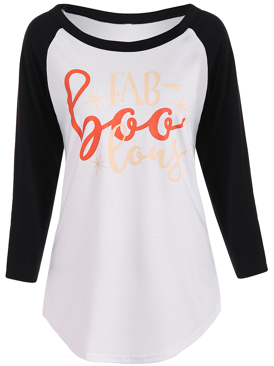 Round Neck Letters Printed Raglan Sleeve T-Shirt