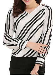 Autumn Spring  Polyester  Women  Striped  Long Sleeve Blouses