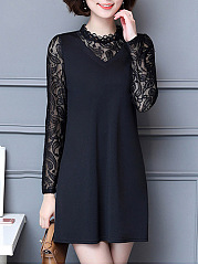 Crew Neck  Fake Two-Piece  Lace Shift Dress