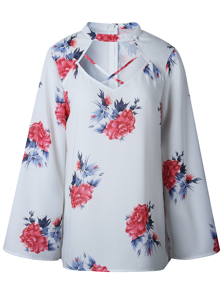Band Collar Cutout Floral Printed Long Sleeve T-Shirt