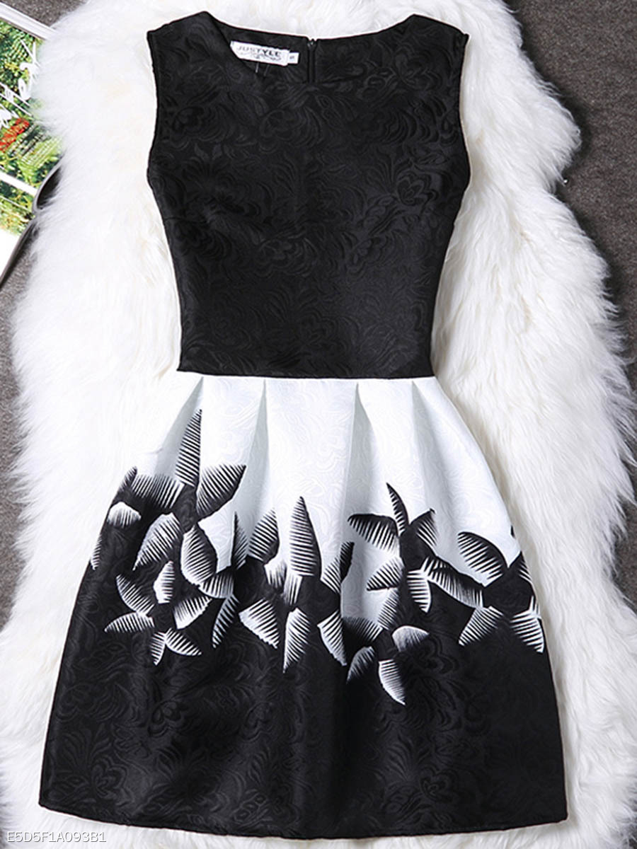 Round Neck Color Block Printed Mini Skater Dress