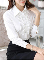Ruffle Trim  Plain Long Sleeve Blouse