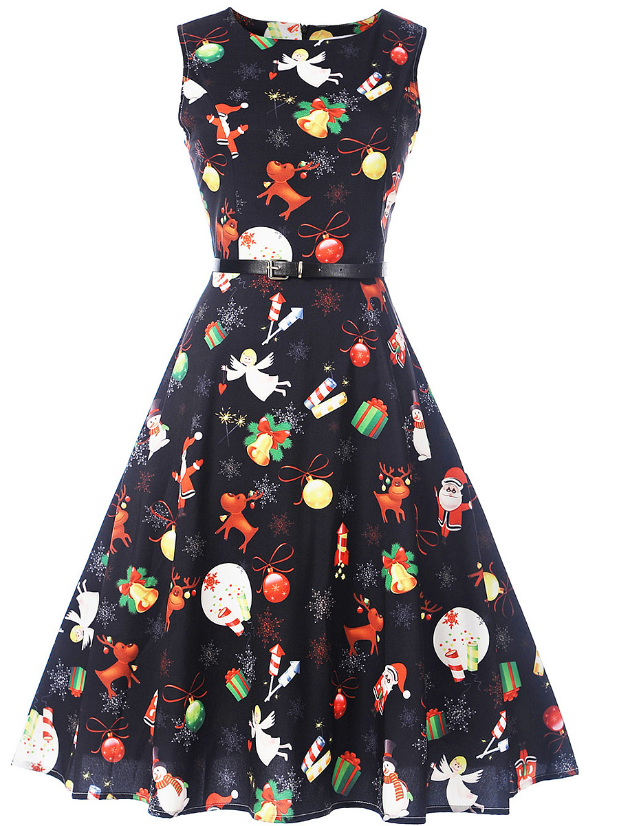 Cute Christmas Printed Midi Skater Dress