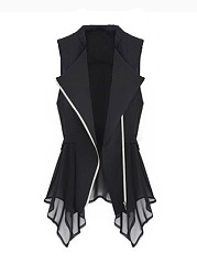 Fold-Over Collar  Zips  Plain  Sleeveless Waistcoat