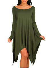 Round Neck Asymmetric Hem Plain Awesome Shift Dress