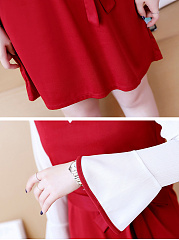 Round Neck  Contrast Trim  Belt  Color Block Colouring Skater Dress