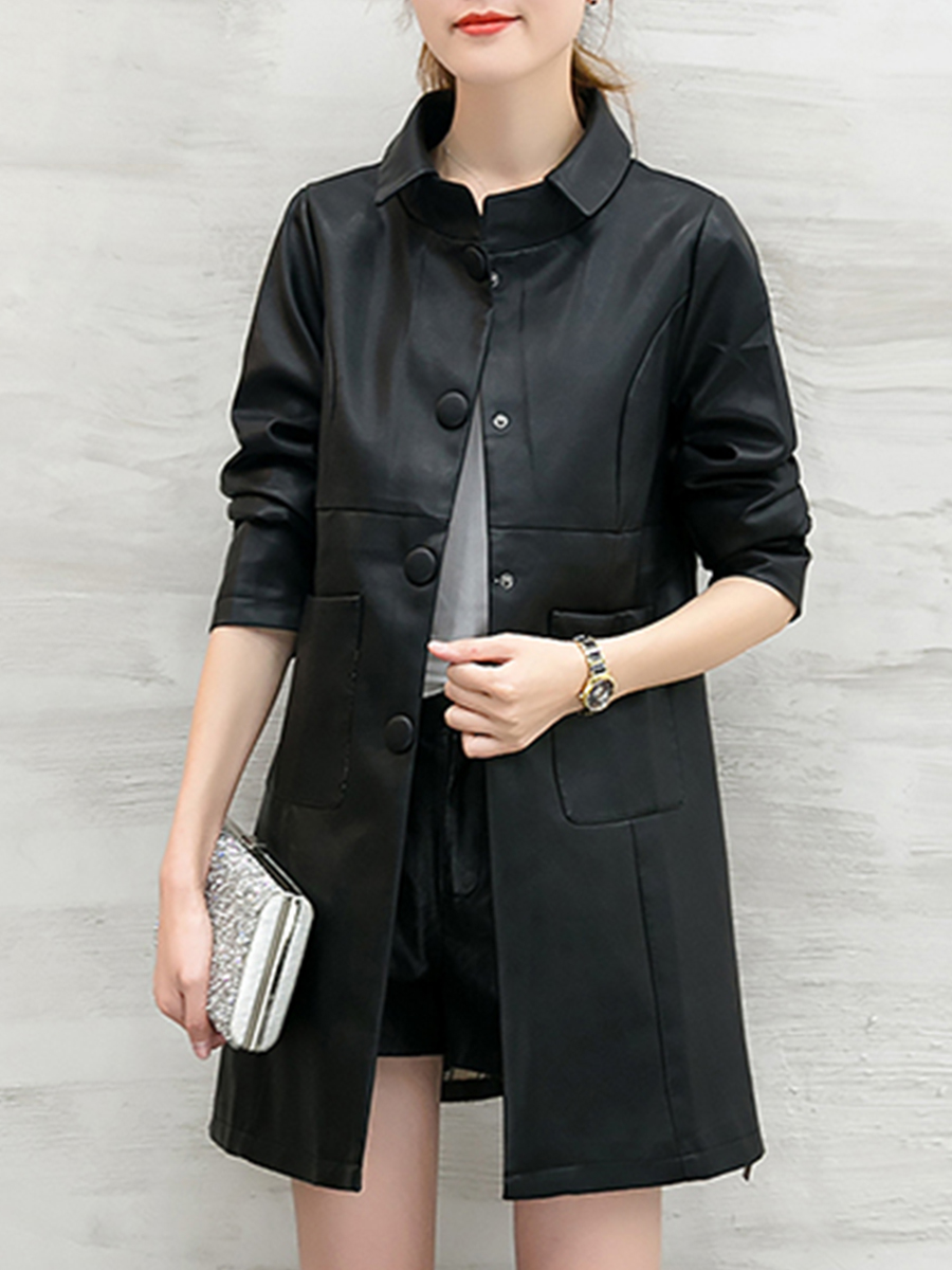 punk single breasted plain autumn spring Doll Collar  Single Breasted  Plain  Long Sleeve Coats