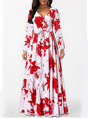 V-Neck Puff Sleeve Elastic Waist  Printed Maxi Dress