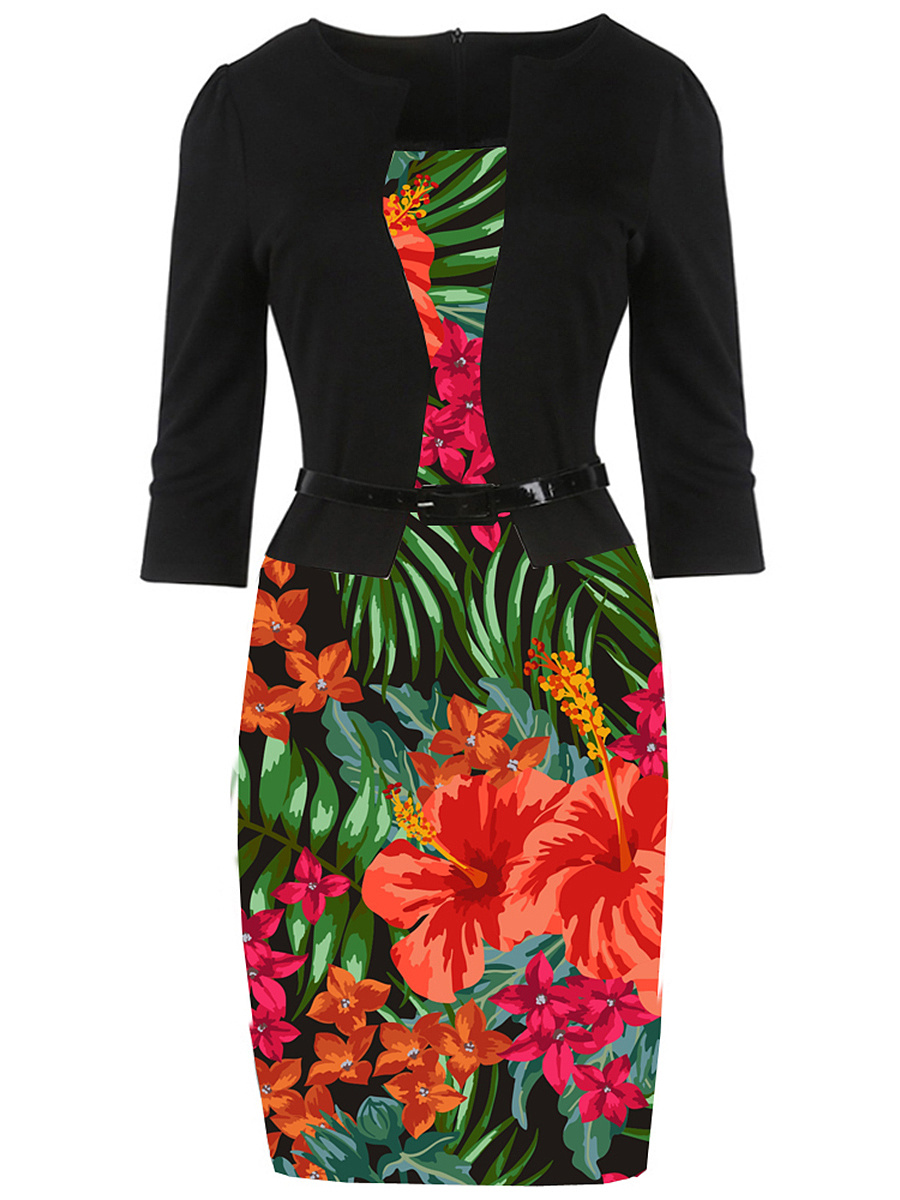 Awesome Floral Printed Belt Bodycon Dress