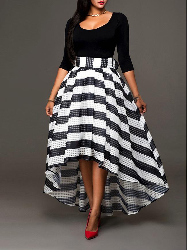 Fashionmia Round Neck  Striped Skater Dress