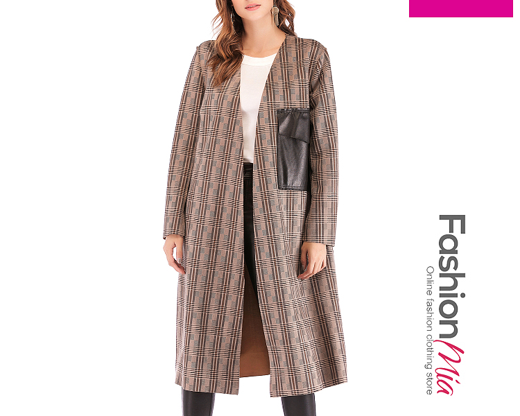 Flap Pocket Plaid Cape Sleeve Long Sleeve Trench Coats - $32.95