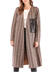 Flap Pocket  Plaid  Cape Sleeve  Long Sleeve Trench Coats