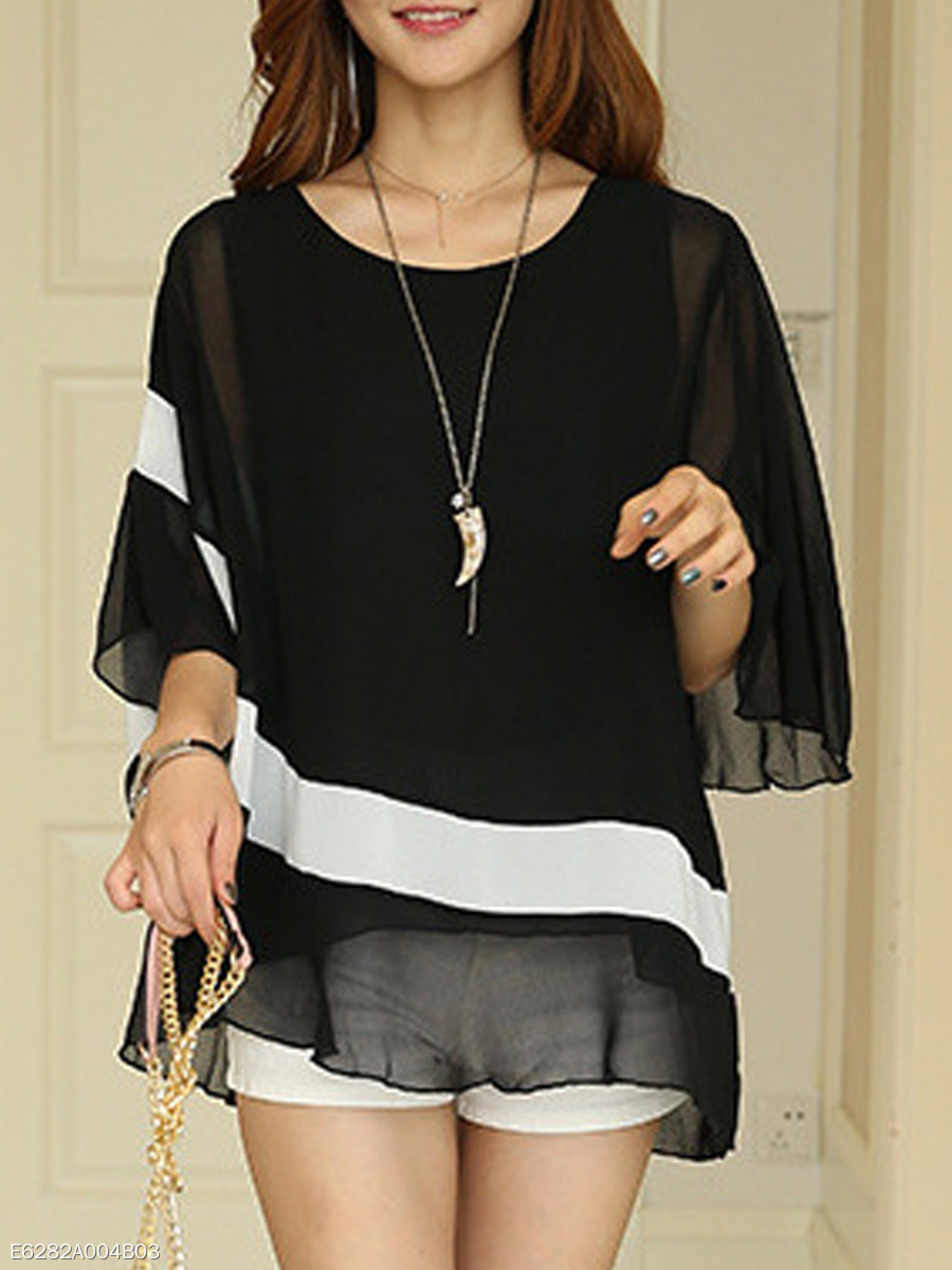 Spring  Women  Contrast Piping  Color Block Plain  Half Sleeve Blouses