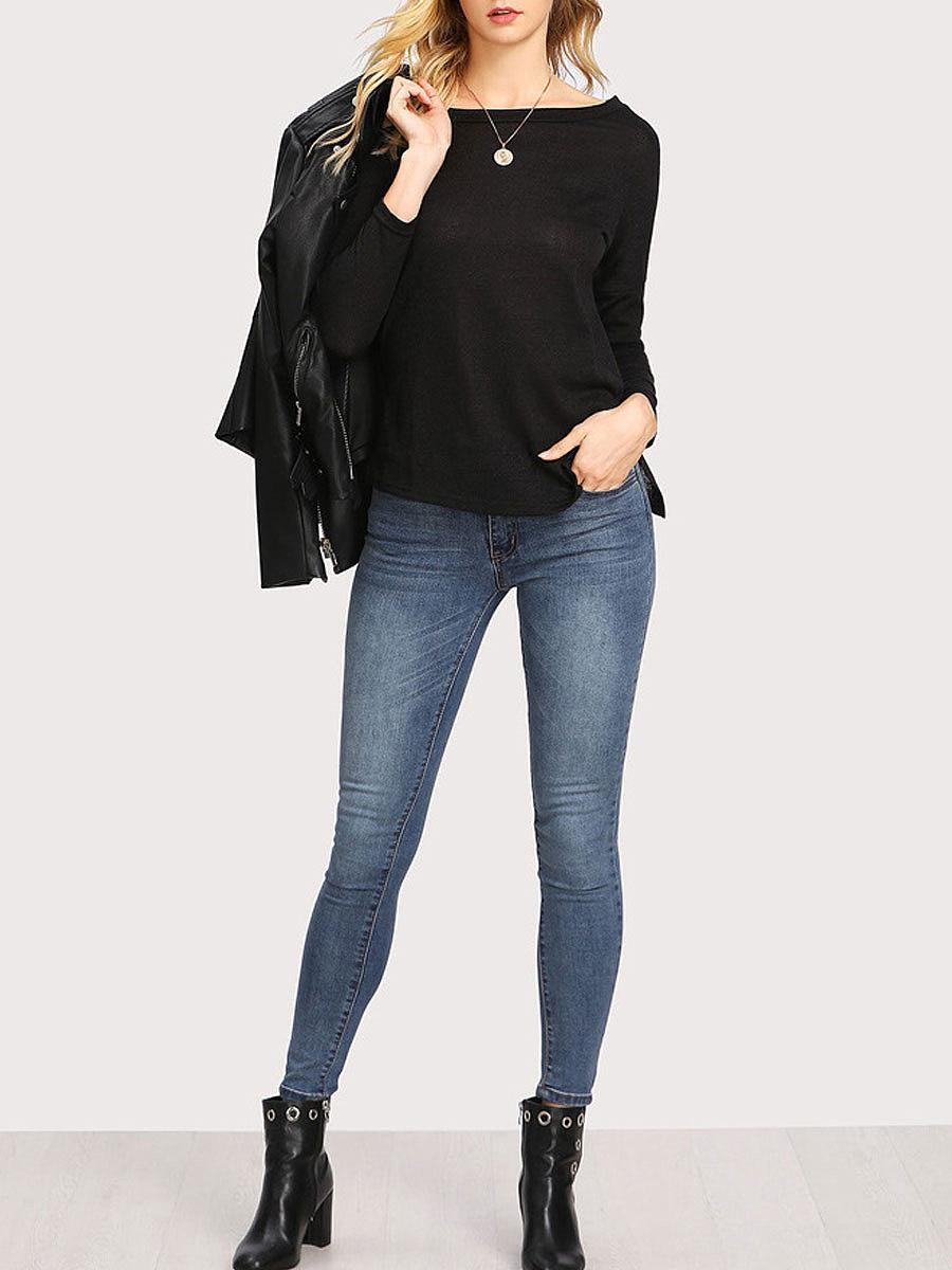 Autumn Spring  Blend  Women  Open Shoulder  Plain Long Sleeve T-Shirts