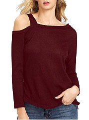 Autumn Spring  Blend  Women  Open Shoulder  Plain Long Sleeve T-Shirts