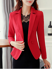 Notch Lapel Plain Blazer