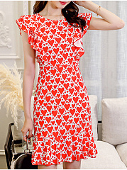 Round Neck  Cartoon Bodycon Dress