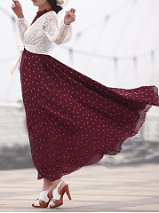 Round Neck  Belt  Polka Dot Maxi Dress
