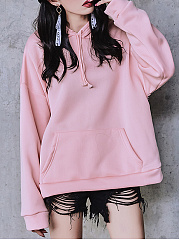Patch Pocket  Plain  Raglan Sleeve  Long Sleeve Hoodies