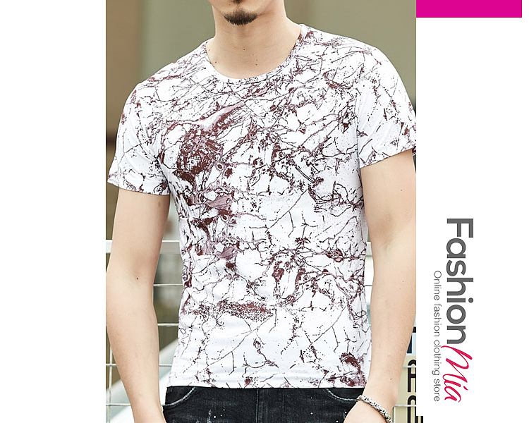 gender:men, hooded:no, style:casual, sleeve:short sleeve, pattern_type:abstract print, supplementary_matters:all dimensions are measured manually with a deviation of 2 to 4cm., occasion:basic*daily, season:summer, package_included:top*1, length:67,shoulder:41,sleeve length:18,bust:94,