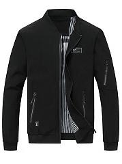 Band-Collar-Men-Zips-Pocket-Plain-Jacket