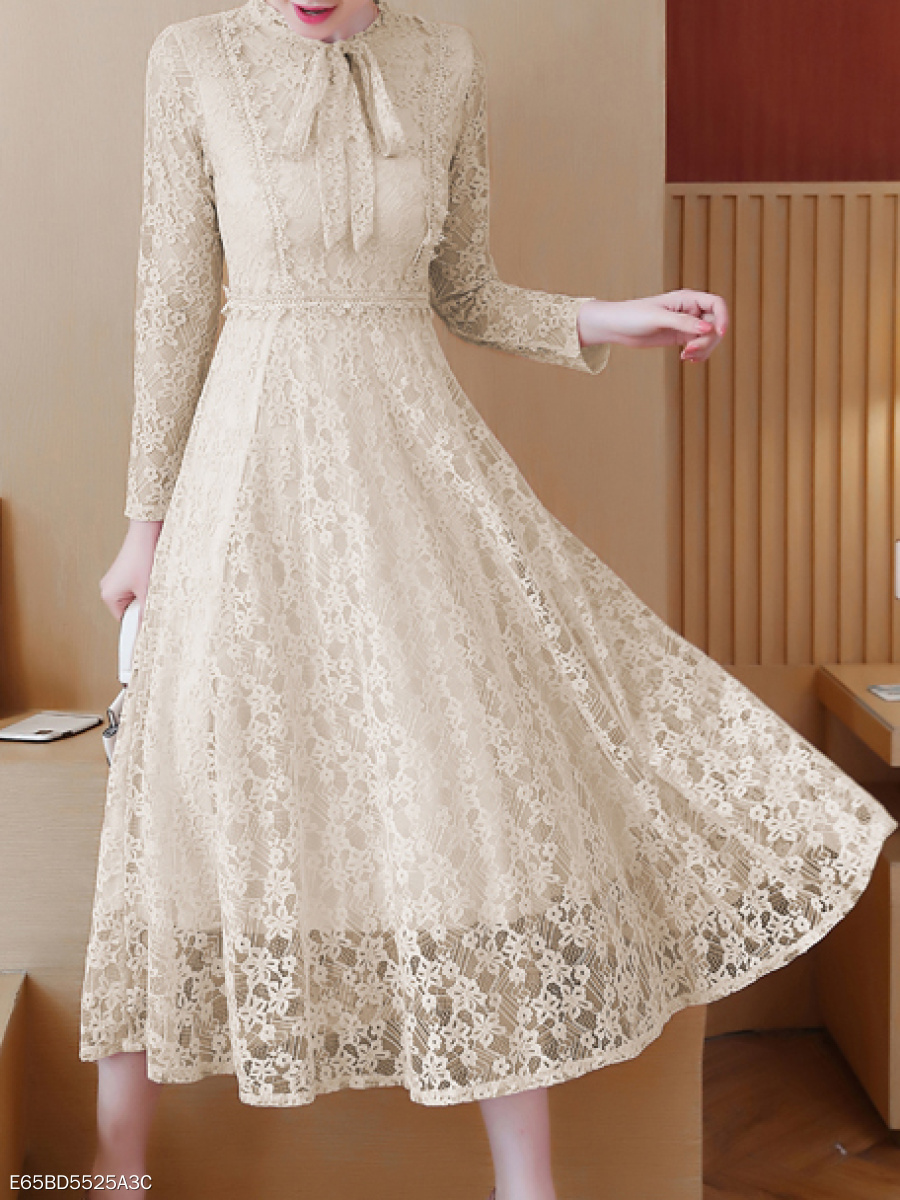 Tie Collar  Hollow Out Lace Skater Dress