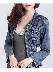 Lapel-Denim-Elastic-Waist-Flap-Pocket-Light-Wash-Jacket
