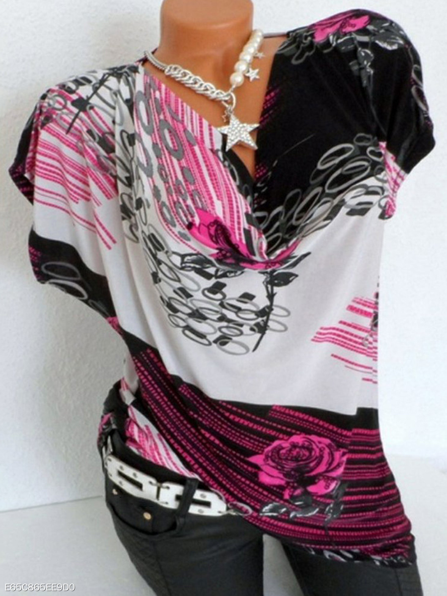V Neck  Loose Fitting  Print  Batwing Sleeve Short Sleeve T-Shirts