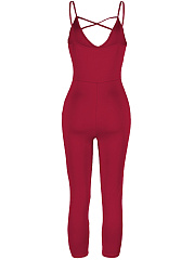 Modern Solid Spaghetti Strap Hollow Out Slim-Leg Jumpsuit
