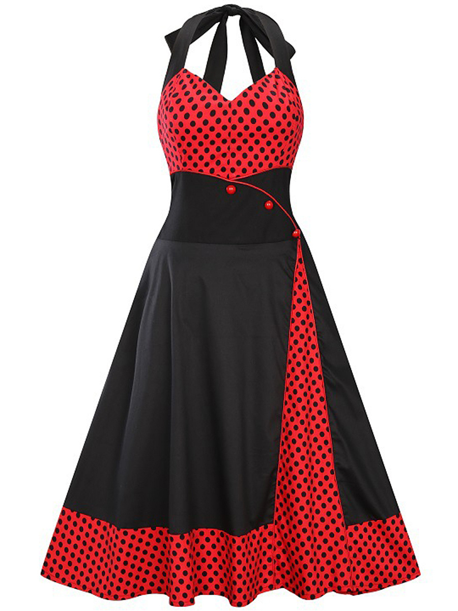 Retro Halter Polka Dot Midi Skater Dress