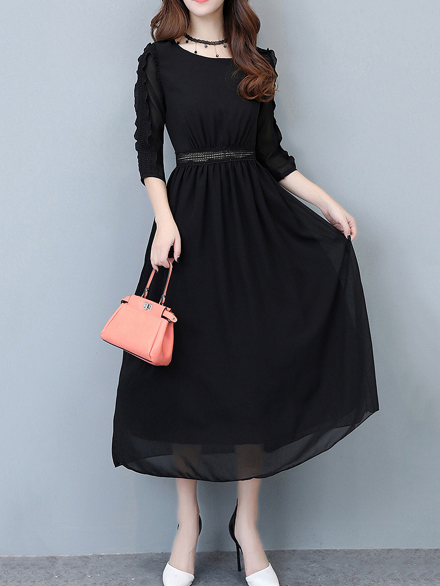 Round Neck Plain Chiffon Maxi Dress