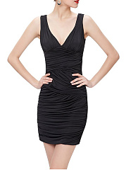 Deep V-Neck Ruched Plain Sleeveless Bodycon Dress