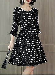 Round Neck  Contrast Trim  Polka Dot Skater Dress
